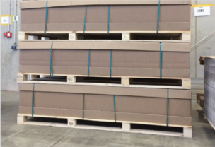 Beispiel für eine Exportverpackung für Türblätter Tillmann Verpackungen Schmalkalden GmbH