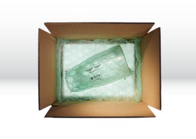 Kartonage mit Luftpolsterkissen der Tillmann Verpackungen Schmalkalden GmbH zum optimalen Produktschutz der Waren