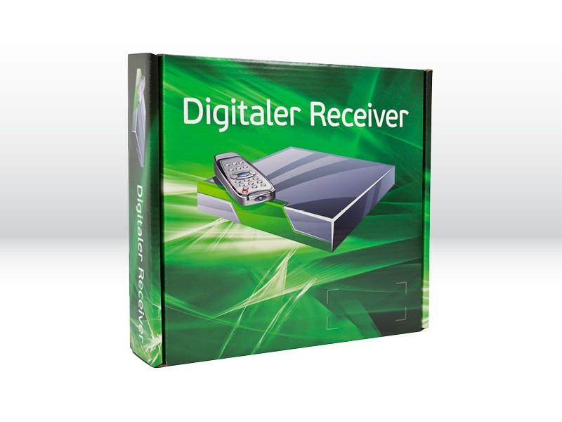 Produktspezifisch gefertigte, bedruckte Verkaufsverpackung der Tillmann Verpackungen Schmalkalden GmbH für einen Receiver