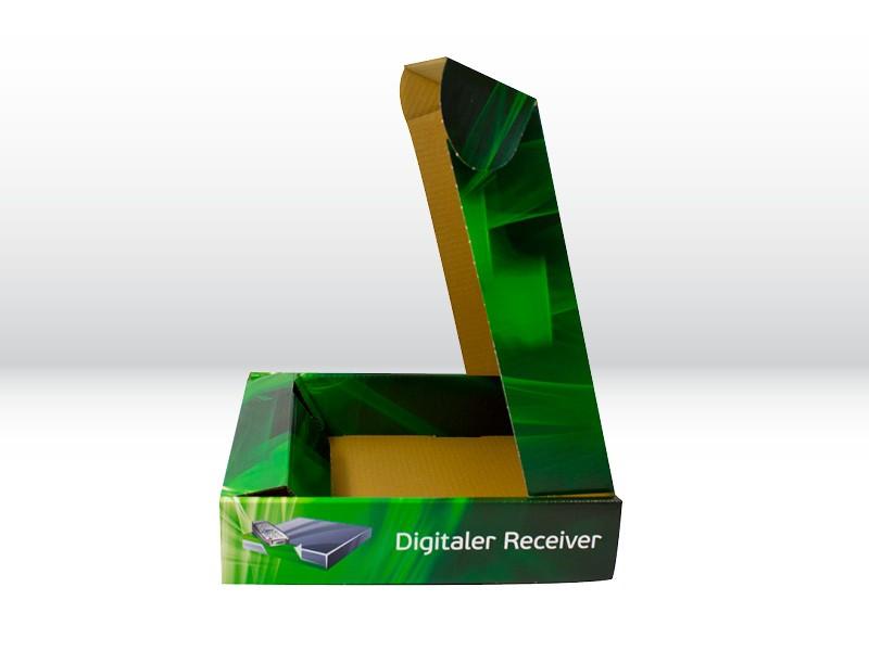 Aufgeklappte Verkaufsverpackung der Tillmann Verpackungen Schmalkalden GmbH für einen Receiver