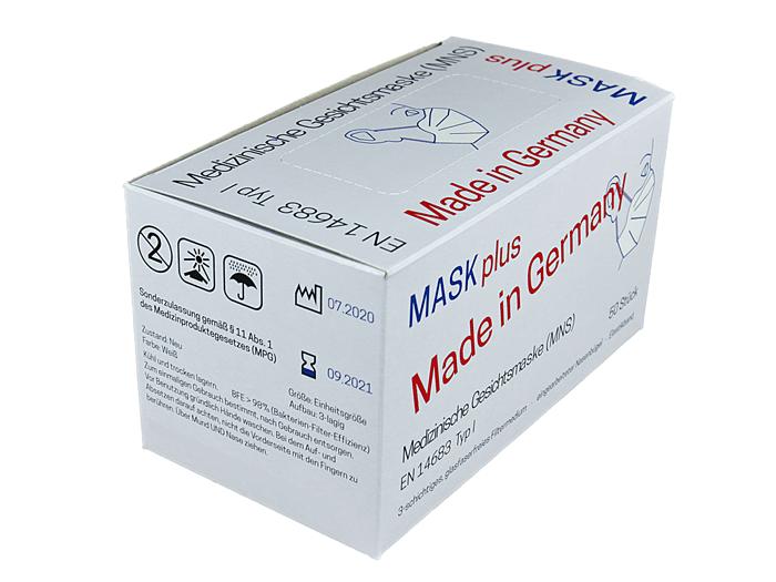Eine Verkaufsverpackung für Einweg Mund-Nase-Bedeckungen, eine Verpackungslösung von Tillmann Verpackungen