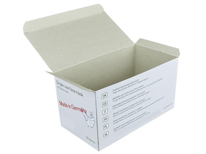 Eine leere Verkaufsverpackung für Einweg Mund-Nase-Bedeckungen, eine Verpackungslösung von Tillmann Verpackungen