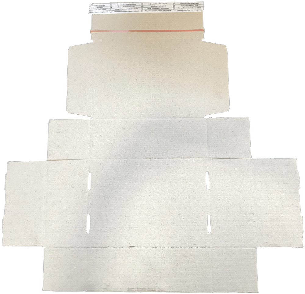 Ansicht eines Kartons aus Graspapier im aufgeklappten Zustand mit Selbstklebestreifen